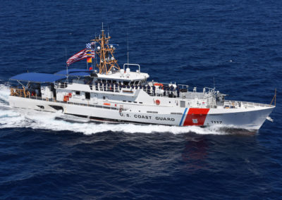 The Coast Guard Cutter Donald Horsley crew mans the rail during a sea trial off the coast of Key West, Florida, on April 5.