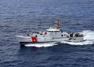 The Coast Guard Cutter Joseph Tezanos conducts sea trials off the coast of Key West Florida on July 20, 2016.